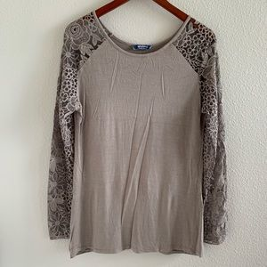 Nordstrom Giulia Made in Italy Lace Arm Blouse   L